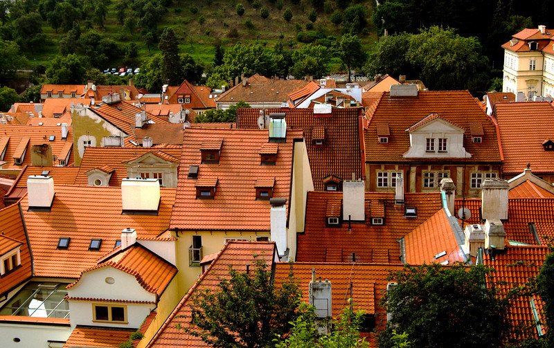 Red roofs from Prague Castle