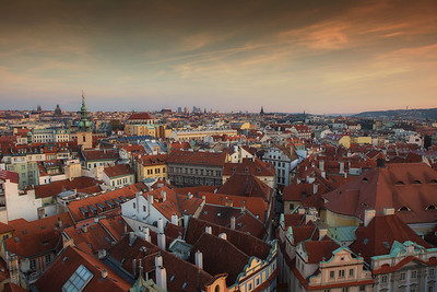 Prague Rooftops at Sunset