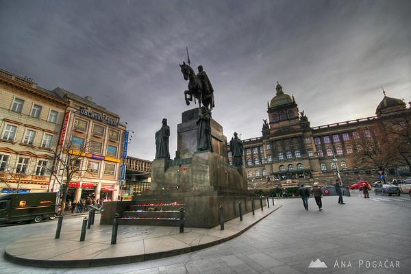Wenceslas Square (Václavske náměstí) with the statue of St Wenceslas