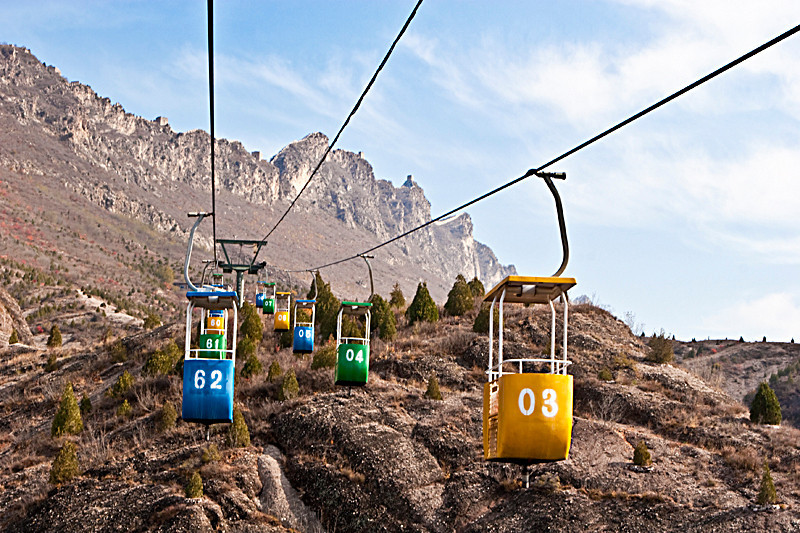 Cable cars to The Great Walls at Simatai. 2006