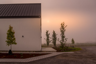 Everly Inn on a foggy morning with lovely warm light.