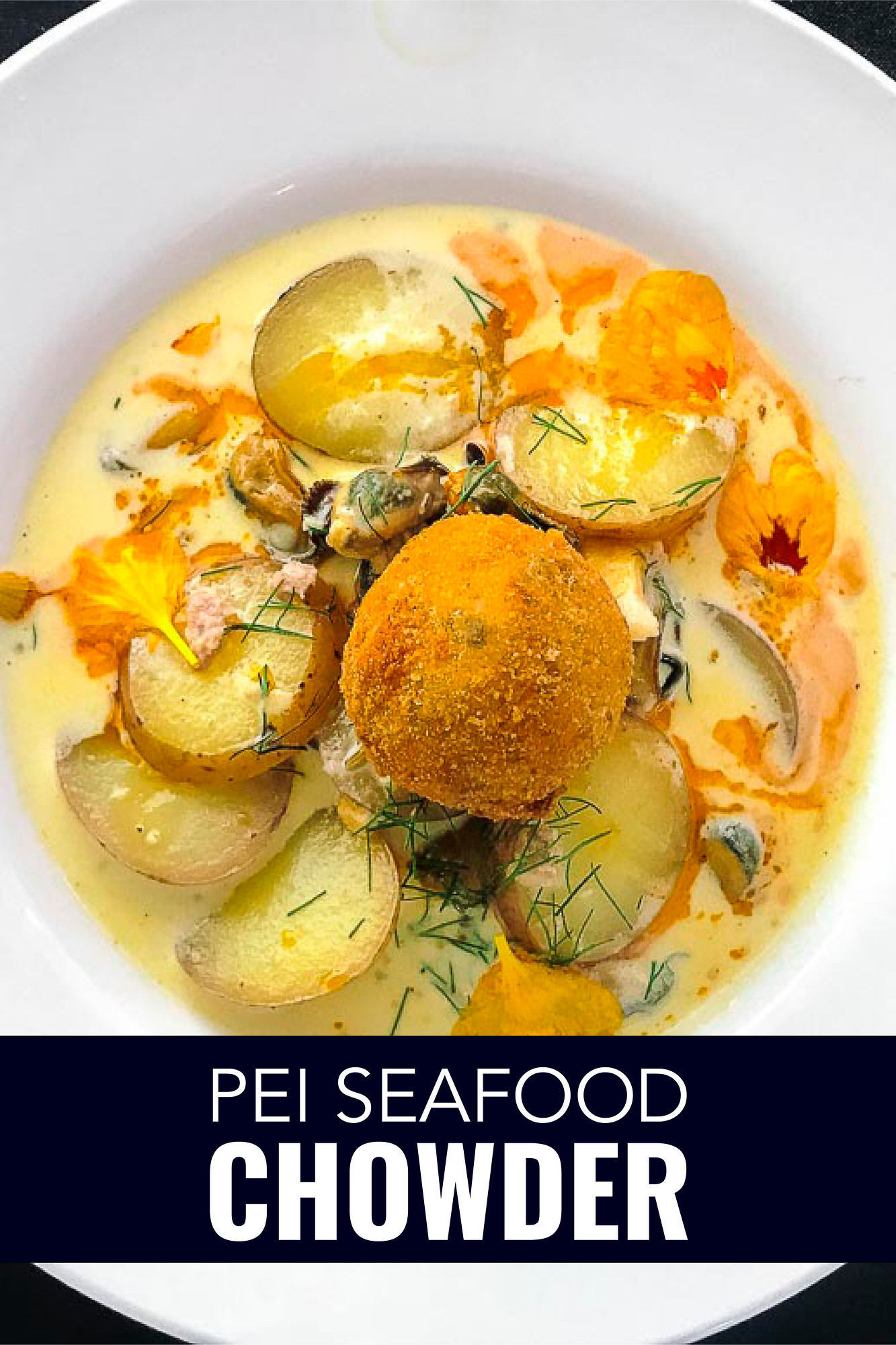 Classic PEI seafood chowder with a delicious Italian twist of sausage and lobster arancini.