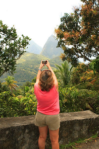 Pam capturing the Pitons