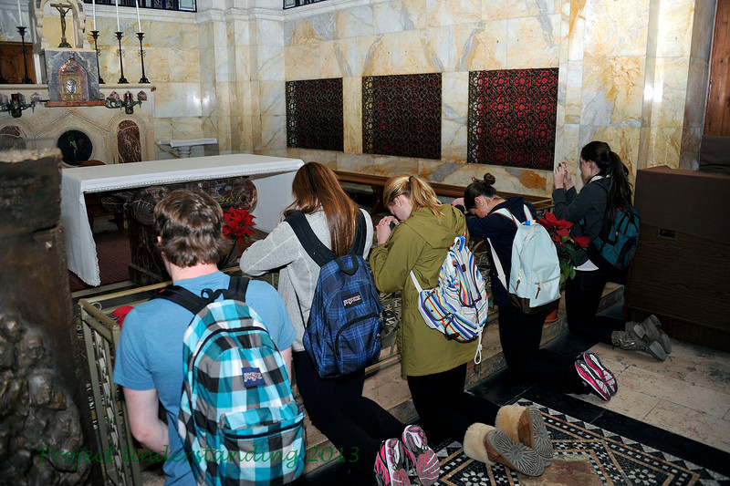 Our students take a moment to pray at this chapel.