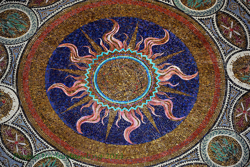 The ceiling is breath-taking, with its many mosaic images.