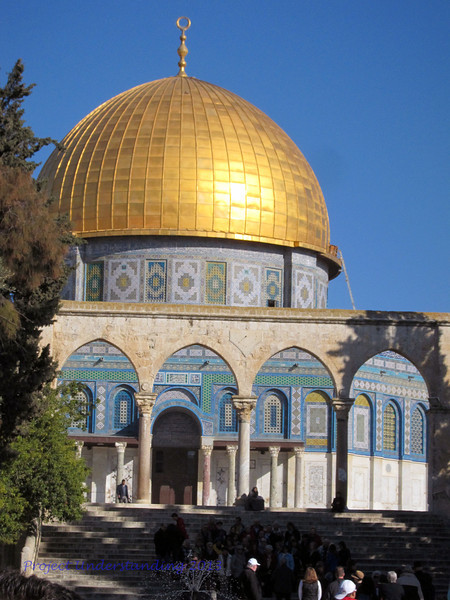 The Dome of the Rock currently sits in the middle of the Temple Mount area, occupying or close to the area where the Holy Temple was built.