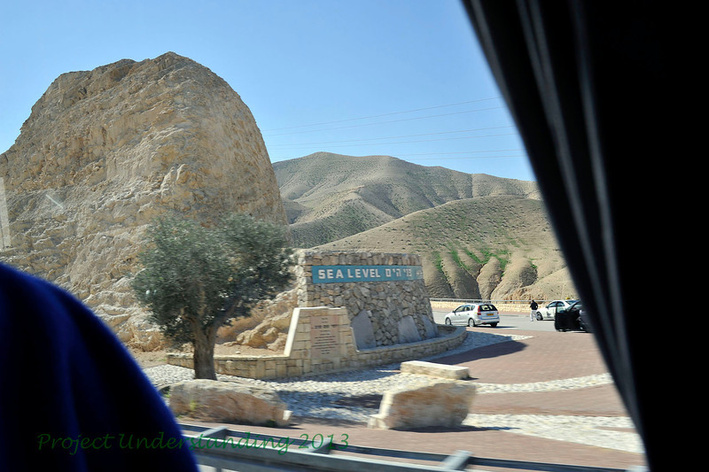 Jerusalem is over 2,000 feet above sea level.  As one leaves this beautiful, lush green city, you travel downhill into dry regions leading towards the Dead Sea.  Here we pass a sign saying we are right at sea level.