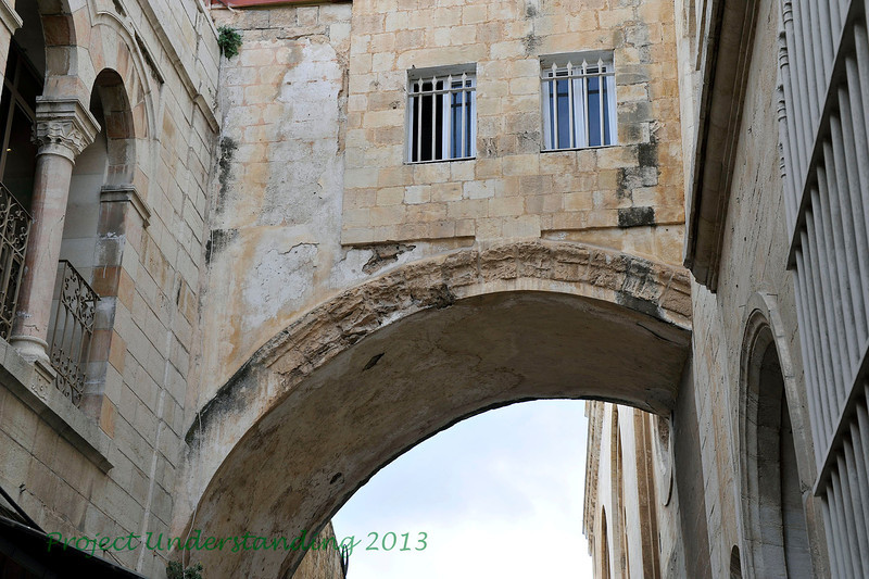 """Famous Roman arch near Ecce Homo.  """"Ecce Homo"""" refers to John 19:5 : """"Jesus came out, wearing the crown of thorns and the purple robe. Pilate said to them: """"Behold the man""""."""