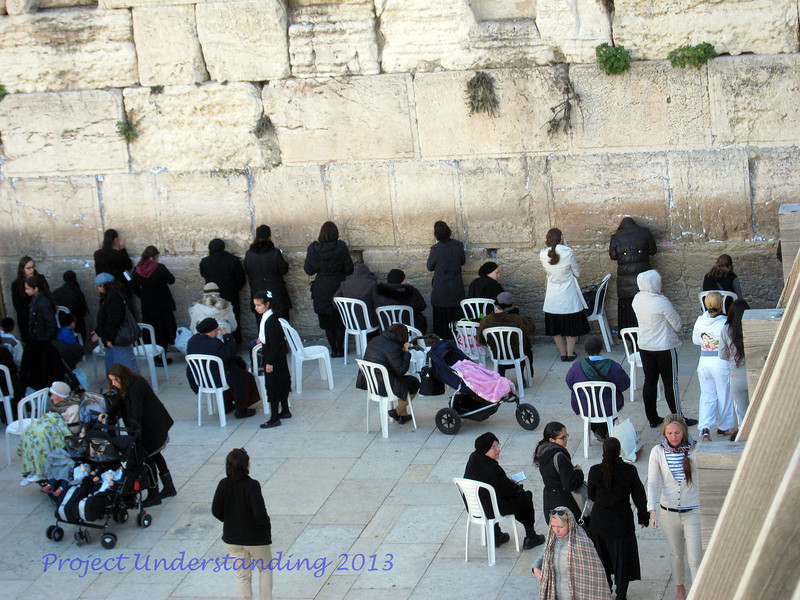 Early Monday morning, we waited on line to see the Temple Mount area.   Before we were on top, we were above the women's section of the Western Wall.