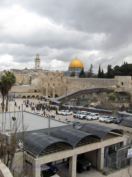 View from a distance of the Western Wall and the Dome of the Rock.