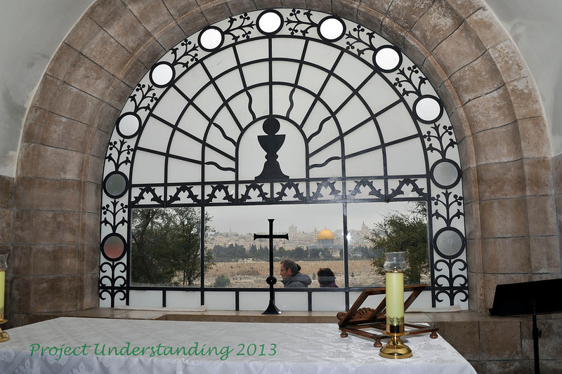 Next we traveled to Dominus Flevit Chapel, where tradition has Christ weeping over the city of Jerusalem seen in the backround.