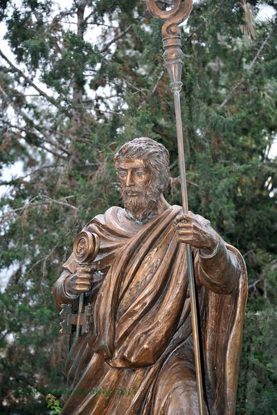"Statue of St. Peter portrayed with the ""keys of the Kingdom,"" a sign of Christ passing his authority onto Peter."