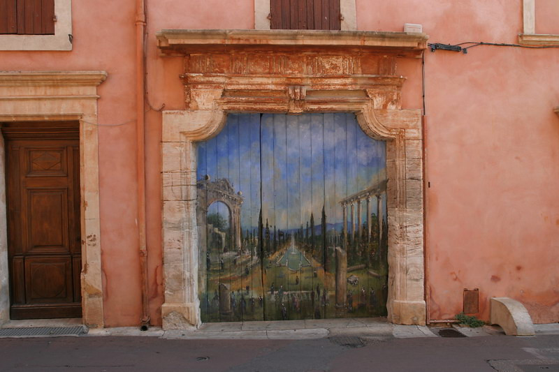 A surreal garage door in one of tiny villages in the Luberon valley