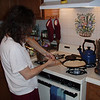 Susan whips up breakfast.