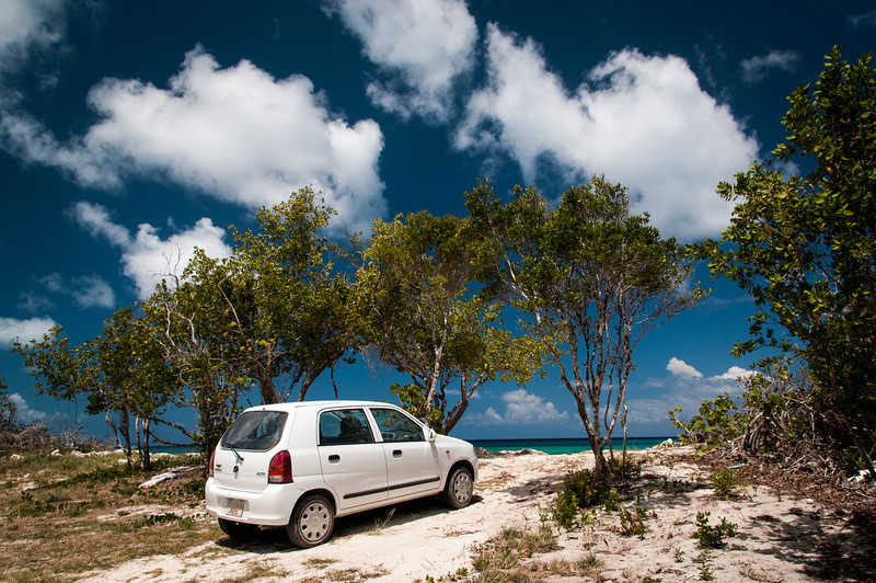 """Our trusty steed (aka """"the clown car"""") was up to the task of finding Malcolm Bay Beach"""