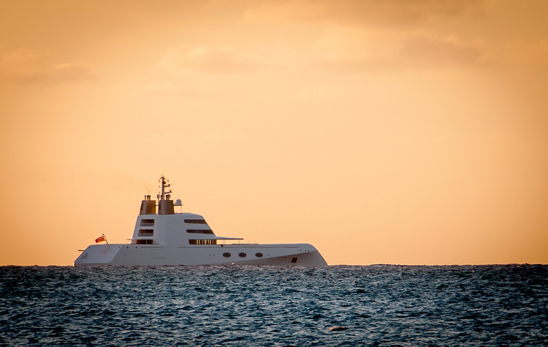 "Hamilton ""A"" Yacht Lurking off Grace Bay Beach at Sunset (Google it!)"