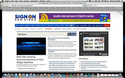 Front page of the San Diego Union Tribune's website on 9/28/2011. This one got a lot of attention including coverage on national television (CNN)!