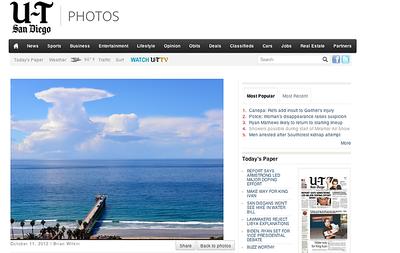 Cumulus clouds off Scripps Pier on Thursday, October 11, 2012.