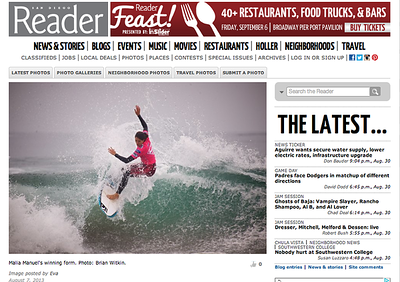 San Diego Reader Super Girl Pro Photo of winner Malia Manuel:  Wednesday August 7th, 2013.