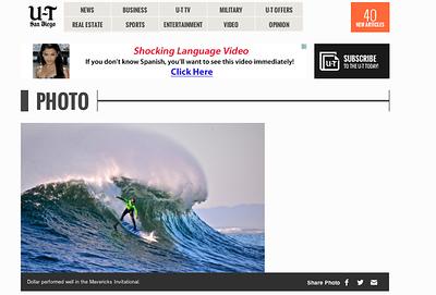 San Diego Union Tribune Photo of Big Wave World Record Holder Shawn Dollar: June 2nd, 2013.