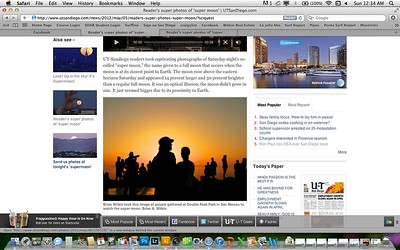 San Diego Union Tribune Article on the Super Moon: May 6th, 2012.