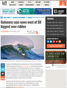 San Diego Union Tribune article on Big Wave World Record Holder Shawn Dollar: June 2nd, 2013.