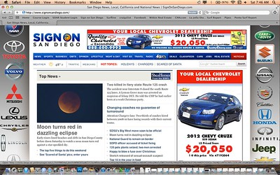 "Lunar Eclipse photo featured on the front page of the San Diego Union Tribune's website on the morning of Saturday, December 10th, 2011. For more pics from this event, click on the ""Nature"" link at the top of this page."