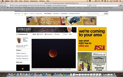 "Lunar Eclipse article from the San Diego Union Tribune's website, on the morning of Saturday, December 10th, 2011. For more pics from this event, click on the ""Nature"" link at the top of this page."