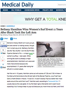 Medical Daily Article with Bethany Hamilton: March 24th, 2014.