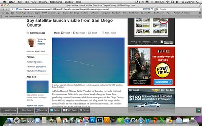 Article with my photo of a United Launch Alliance Delta IV Heavy rocket that was used to launch the NRO satellite. Published by the San Diego Union Tribune on April 3rd, 2011
