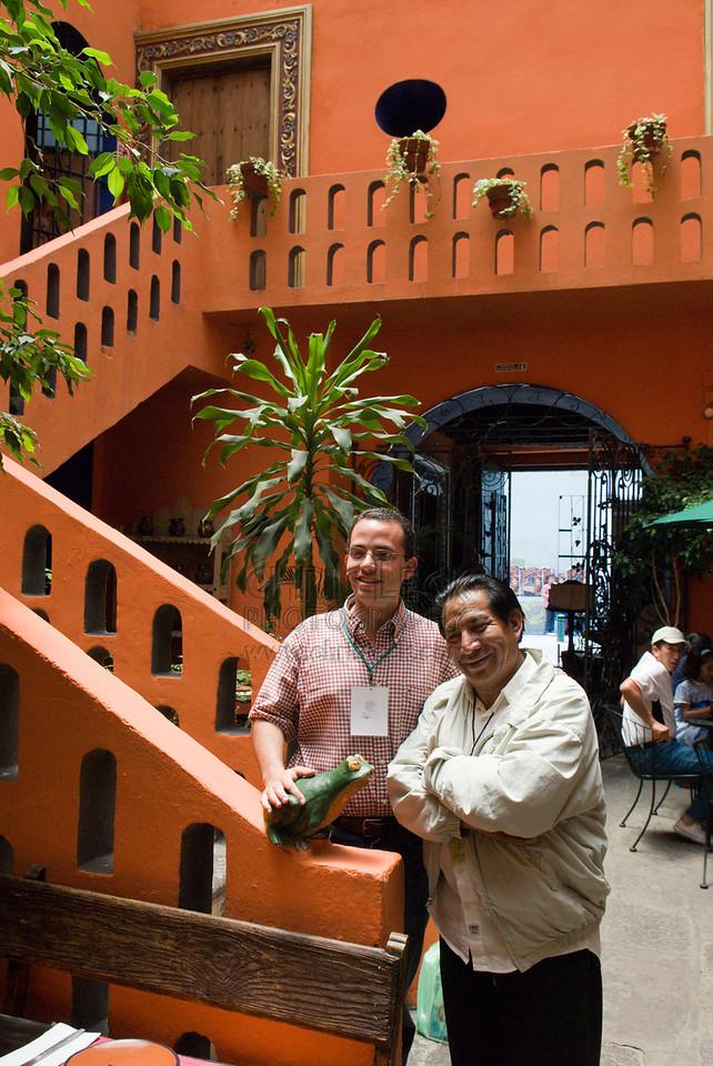 Guides Alfredo Torres Cuahite (r) and Luis Hernandez at the Mesón Sacristía de la Compañía Hotel, Puebla