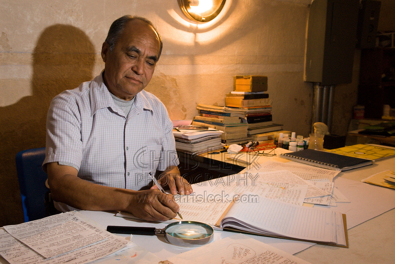 Scholar Máximo López Ramirez works in his office in Carmelitas Convent, Atlixco