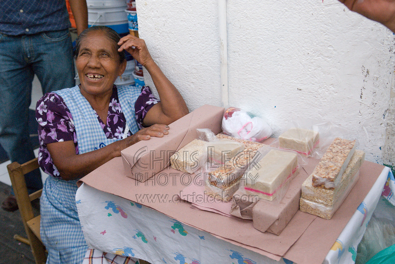 Woman selling nut candies in Atlixco