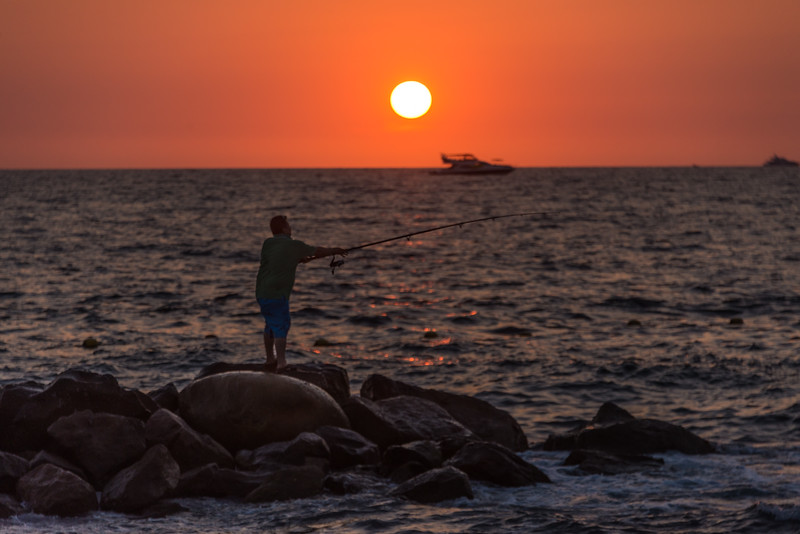 Late afternoon fisherman in Puerta Vallarta, Mexico -  April 2017