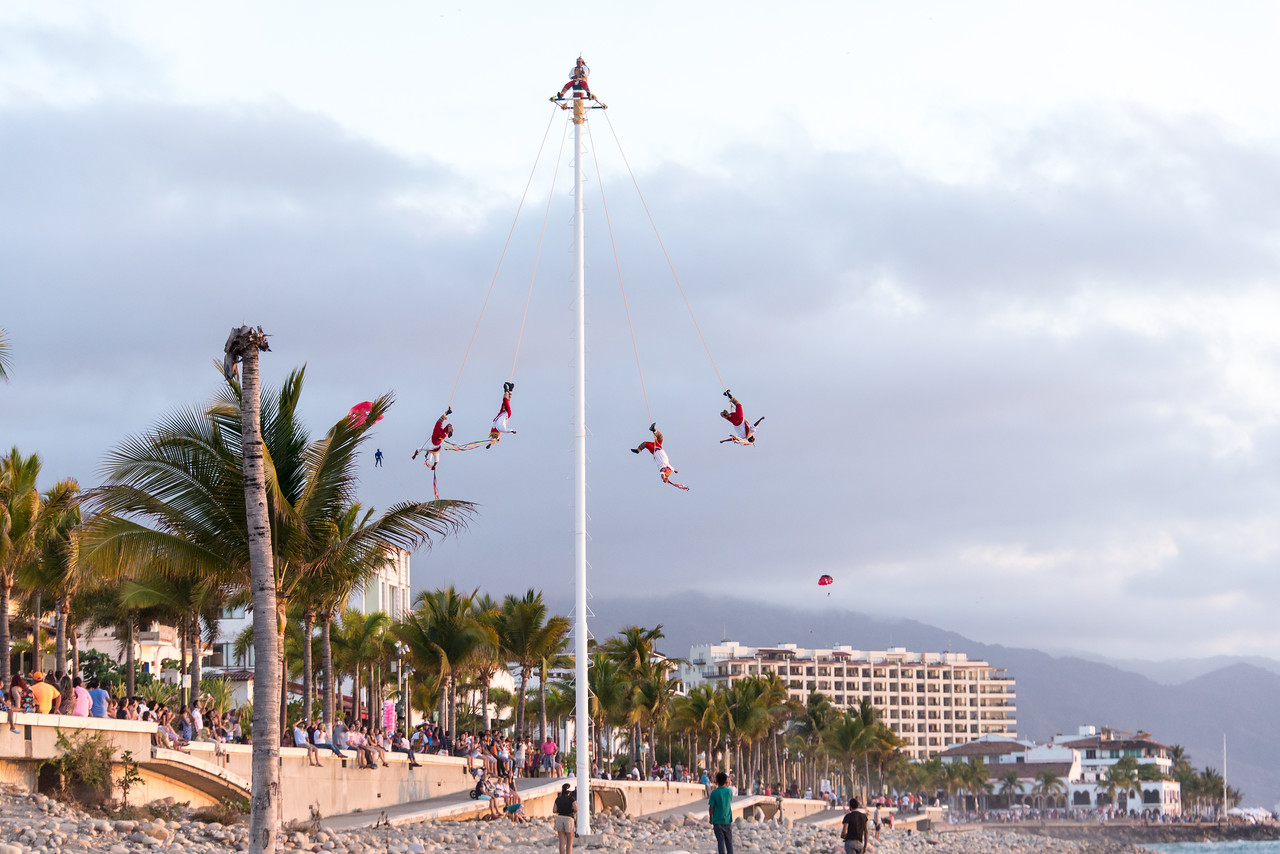 Malecon Pole Spinners, Puerta Vallarta, Mexico -  April 2017