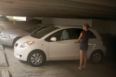 Lacey getting ready to drive the very economical Yaris!