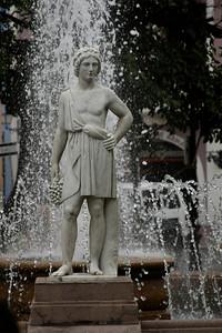 statue in the fountain.