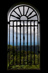 View of El Yunque rainforest and the Atlantic Ocean from an observatory window El Yunque National Forest, Puerto Rico