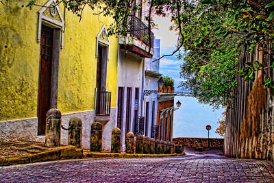 Colonial street in Viejo San Juan, Puerto Rico