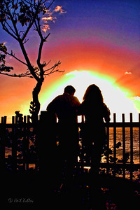 Novios (sweethearts) at sunset in Rincon, Puerto Rico