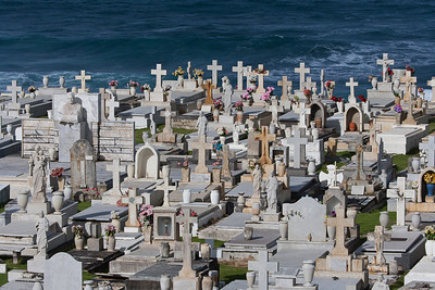 This one is the most amassing location for a graveyard.  The cemetery is located on a cliff overlooking open ocean on east site of old San Juan.