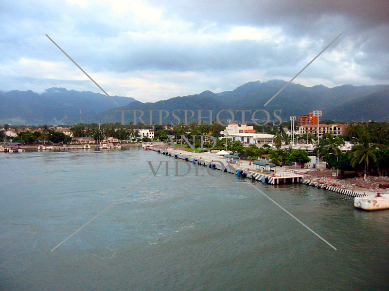 A view of the dock and cruise ship port in Puerto Vallarta, Mexico.