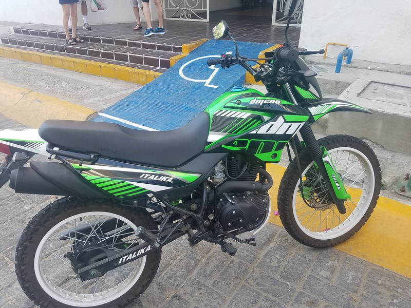 I saw a lot of these Mexican made motorcycles.  The dual-sport style made sense on the rough streets.