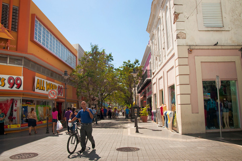 Street scene in Ponce.  It was quite hot that day, probably in the high 80s to low 90s.