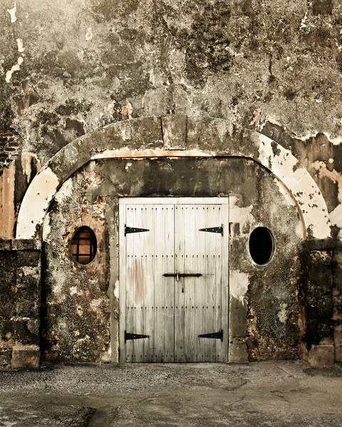 Imposing fortress door.