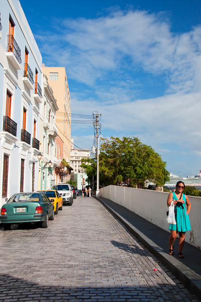 Old San Juan.  We are near the port here, see the cruise ship right above Aisha's head.
