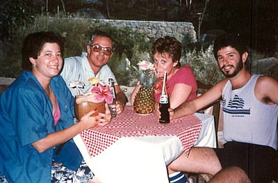"Vicki Skinner (aka ""Vallarta Vicki"") on her first trip to Puerto Vallarta, Mexico - around 1982-ish - with Terrye Hoffman, Jeff Hayne & Laurant Wolman"