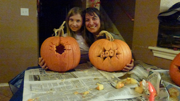 Ashley's and Diane's pumpkins are done. (Ashley's is a spider)