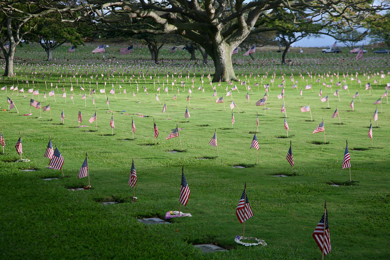 Punchbowl is filled to capacity with 33,255 gravesites.