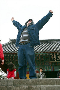 My friend, Bruno, Doing his best Rocky impersonation at the top of the Bulguksa stairs